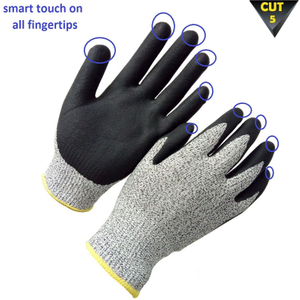 Cut resistant glove with smart touch fingertips HCR611