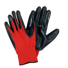 13G red polyester liner nitrile dipped glove HNN337