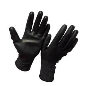Black PU gloves with 18 gauge HPPE fabric HCR618