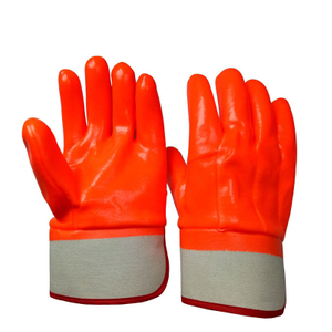 Fluorescent orange winter PVC gloves HPV935