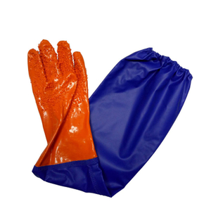 Long sleeve PVC gloves with rough finish